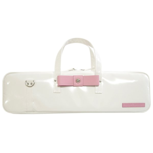 Photo2: NAHOK Flute & Piccolo Case Bag C Foot [Grand Master2] White / Light Pink Genuine Leather Ribbon {Waterproof, Temperature Adjustment & Shock Absorb}