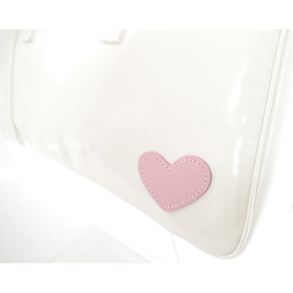 Photo3: NAHOK Clarinet Case Bag [Camarade] White / Genuine Leather Light Pink Heart {Waterproof, Temperature Adjustment & Shock Absorb}