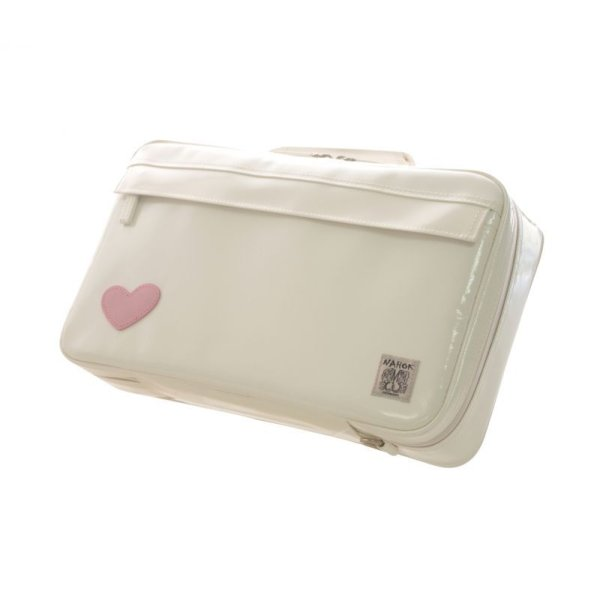 Photo1: NAHOK Single Oboe Case Bag [The Mission] White with Genuine Leather Light Pink Heart {Waterproof, Temperature Adjustment & Shock Absorb}