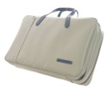 NAHOK 2 Compartment Briefcase for Flute, Oboe, Clarinet [Deniro] Matte Light Grey / Navy Blue {Waterproof, Temperature Adjustment & Shock Absorb}