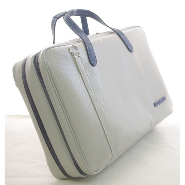Photo2: NAHOK 2 Compartment Briefcase for Flute, Oboe, Clarinet [Deniro] Matte Light Grey / Navy Blue {Waterproof, Temperature Adjustment & Shock Absorb}