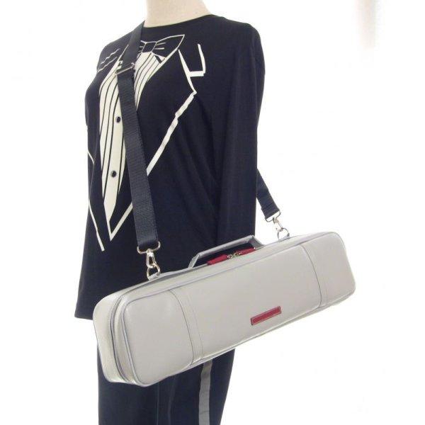 Photo3: NAHOK Alto Flute Case Guard C Foot [Krysar] Matte Light Grey / Red Leather Emblem {Waterproof, Temperature Adjustment & Shock Absorb}